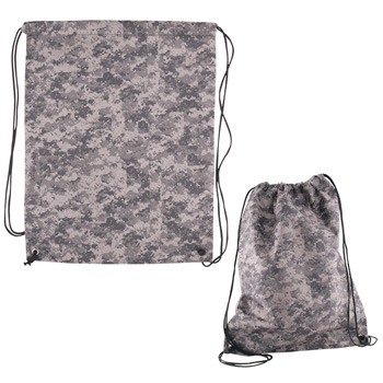 Digital Camouflage Nonwoven Drawstring Cinch-Up Backpack