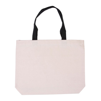 Cotton Canvas Tote w/ Gusset & Color Accent Handles